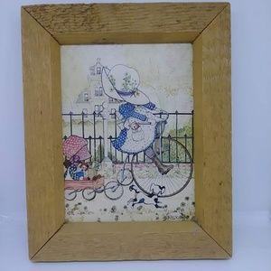 Vintage Holly Hobbie Art Print Wood Framed